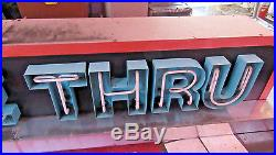 10 Feet Long Vintage 1960s DRIVE THRU NEON Sign, Works Letters light up RED