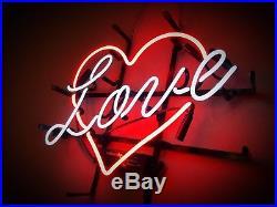 17x14 Real Neon Light Sign Vintage LOVE 24 hours Heart Lighting Art Valentines