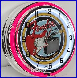 18 Vintage FENDER GUITAR Metal Sign Dbl Neon Wall Clock with Metal Housing