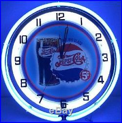 18 Vintage PEPSI Metal Sign Double Neon Wall Clock Bottle Big Glass 5 Cents