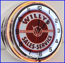 18 Vintage WILLYS Sign Double Neon Clock Jeepster Wagon Pickup Truck Jeep Parts