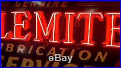 1930's Vintage Original Alemite Porcelain Neon Sign GAS OIL MOBIL SHELL GULF WOW