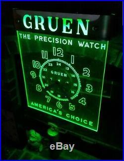 1940's GRUEN Watches Antique Vintage Neon Clock LACKNER Edge Lit Neon sign CLEAN