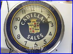 1950's Vintage Authentic Dealerships CADILLAC SALES Sign Neon Like Wall CLOCK