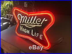 1983 Vintage Neon Miller High Life Bar Sign Works GREAT