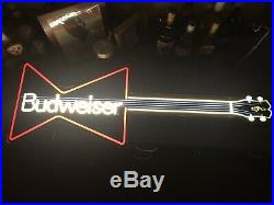1989 Vintage Budweiser Neon Guitar Light Sign