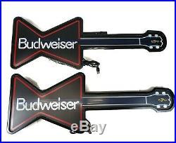 1989 Vintage Budweiser Neon Guitars Lighted Signs PAIR Beer Display Bar Pub 80's
