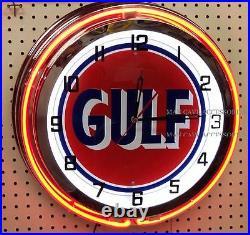 19 GULF Antique Sign Gasoline Motor Oil Gas Station Double Neon Clock No Nox