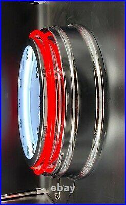19 RCA Radio Vintage Look Sign Red Double Neon Clock Man Cave Garage Bar Shop