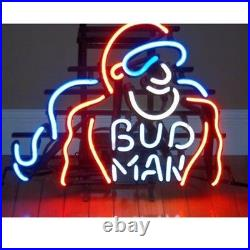19x15Vintage Bud Man Neon Sign Light Real Glass Tube Wall Hanging Visual Art