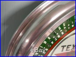 20 Texaco Neon Spinner Clock Pinwheel Gas Sign Rare Fantasy Clock Vintage Nr