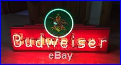 30 Wide Vintage Budweiser Beer Neon Sign Made by Mt Vernon Neon Co, Illinois