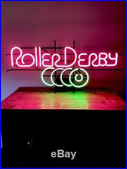 3 FT Vintage/retro Neon Sign Roller Derby working condition Flamingo pink