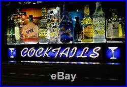 3' Lighted Bottle Display Vintage Looking Bar Sign Cocktails Rf Remote Ct