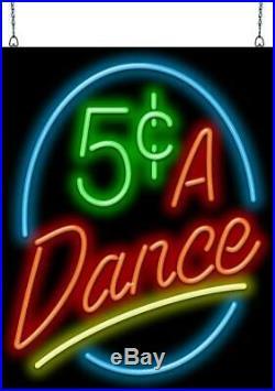 5 Cents A Dance Neon Sign Jantec 24 x 30 Jukebox Vintage Antique Diner