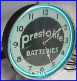 AMAZING original vintage lackner neon clock PREST-O LITE-BATTERIES gas oil sign