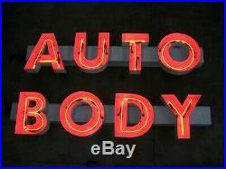 AUTO BODY Neon Sign, Vintage, Red, White Lettering, Switched