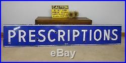 Amazing Find! Huge Heavy Porcelain Pharmacy Sign 9' Long Old Neon Xlnt Vintage