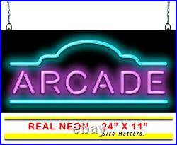 Arcade Neon Sign Jantec 24 x 11 Vintage Games Pool Billiards Sports Bar