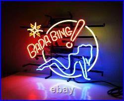 BADA BING Hot Girl Vintage Boutique Workshop Real Glass Neon Sign Light Beer Bar