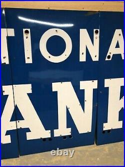 BIG ORIGINAL Vintage NATIONAL BANK Sign PORCELAIN NEON Old Advertising WILL SHIP