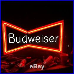 BUDWEISER NEON LIGHT BAR SIGN ANHEUSER BUSH Rare Beer Logo Add VTG Red Bowtie