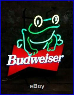 Classic Vintage Budweiser Frog Neon Sign 19 1995 Advertising Beer Sign