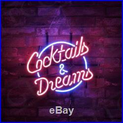 Cocktails & Dreams Vintage Decor Artwork Custom Porcelain Neon Sign Store Gift