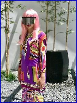 EMILIO PUCCI 60s Vintage Jersey Silk Signed Print Neon Graphic Saks Dress S M
