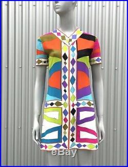 EMILIO PUCCI 60s Vintage Scarf Silk Signed Print Neon Graphic Print Dress XS S