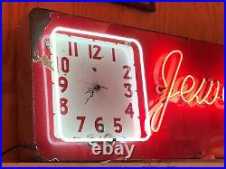 Early Porcelain NEON JEWELRY DIAMONDS Sign w CLOCK Vintage Old Antique ORIGINAL
