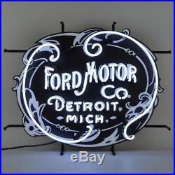 Ford Motor Company 1903 Heritage Logo (Vintage Look) White Neon Sign 5FRDMC