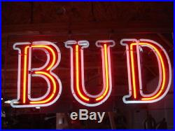 Great Vintage Bud Beer Two Color Neon Sign Bar Light Man Cave Budweiser Brewery
