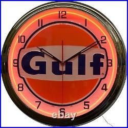 Gulf Gas Oil Vintage Logo Sign Orange Neon Clock Man Cave Garage Decor (16)