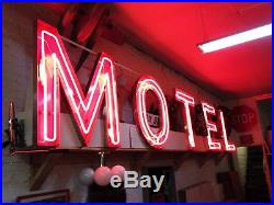HUGE vintage 1950's neon MOTEL porcelain SIGN gas ANTIQUE oil HIGHWAY road