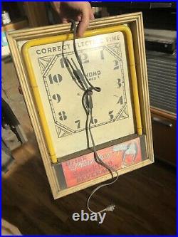 Hammond Neon Clock 1950's Diner light up Art Deco menu Vintage Sign Advertising