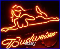 Hot Sexy Girl Neon Sign Bud Weiser Beer Pub Night Club Bar Vintage Man Cave