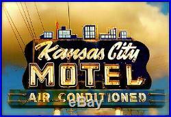 Kansas city motel sign vintage porcelain neon