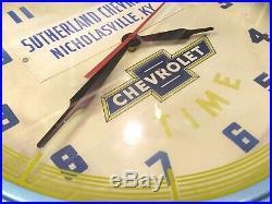 LARGE Vintage 1950's Chevrolet Dealership Blue Advertising Neon Clock Sign WORKS