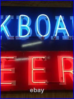 LARGE Vintage ORIGINAL Neon BUCKBOARD BEER Sign PORCELAIN Texas Bar Salloon RARE