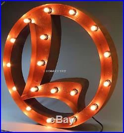 LIONEL VINTAGE MARQUEE LIGHTED SIGN train illuminated rust finish metal 6-42024