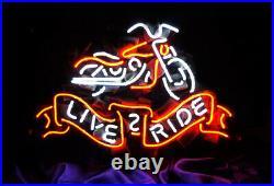LIVE TO RIDE Art Work Vintage Neon Sign uk Wall Garage Light Decor 20X16