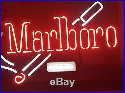Large 28 X 20.5 Vintage Marlboro Cigarette Neon Sign With Original Box