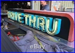 Large Big Vintage Retro 10' Drive Thru Neon Sign Restaurant Advertising Man Cave