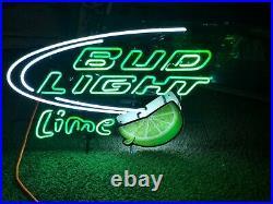 Large Bud Light Lime Neon Light Sign Lamp Beer Bar Man Cave Rare Vintage 31x24x6