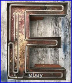 Large Vintage Neon Metal Letter E Greenpoint Brooklyn NY 1920s (20h x 16w)