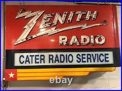 Large Zenith Radio Porcelain Neon Sign Vintage Stunning