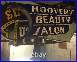 Large double sided porcelain neon sign Hoovers beauty supply vintage on stand