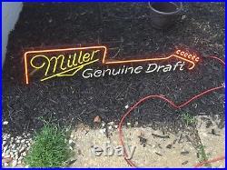 Miller Genuine Draft Neon Sign Light Guitar Vintage