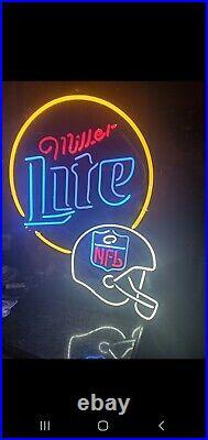 Miller Lite Beer Neon Electric Lighted Sign 26x36 rare vintage NFL football htf